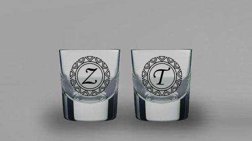 Baş Harfli İkili Kalın Viski Bardağı