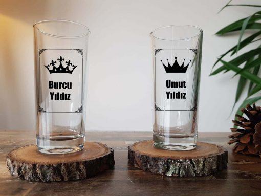 Kral kraliçe rakı bardağı