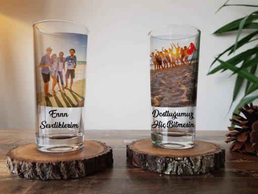 Kişiye özel isimli ve resimli rakı bardağı