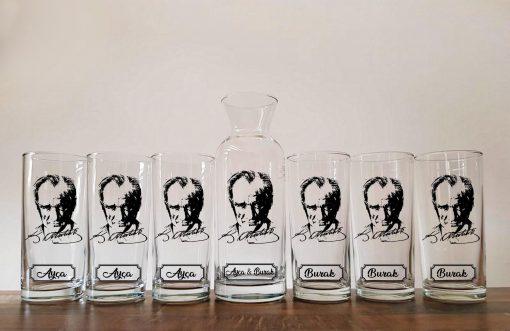 Atatürk Karaflı 6'lı Rakı Bardağı Seti