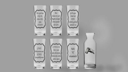 Her Şeyin Sonu Anason - Karaflı 6'lı Rakı Bardağı Seti