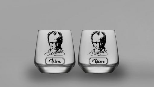 İsimli Atatürk İkili Oval Viski Bardağı
