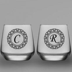 Baş Harfli İkili Oval Viski Bardağı