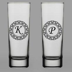 Baş Harfli İkili Votka Bardağı