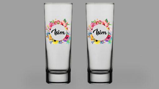 İsimli Çiçekli İkili Votka Bardağı