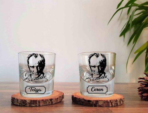 İsimli Atatürk İkili Kalın Viski Bardağı