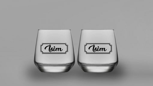 İsimli Klasik İkili Oval Viski Bardağı