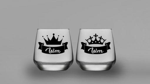 İsimli Kral Kraliçe İkili Oval Viski Bardağı
