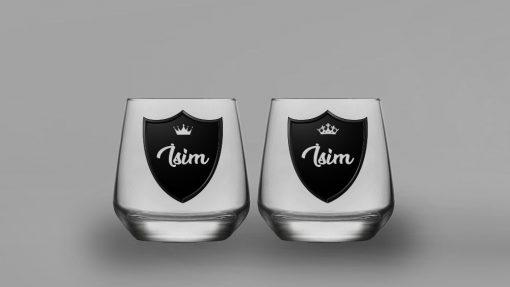 İsimli Royalty İkili Oval Viski Bardağı
