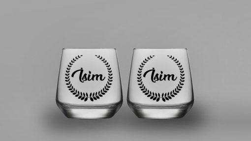 İsimli Yaprak Taç İkili Oval Viski Bardağı