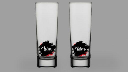 İsimli Leke İkili Votka Bardağı