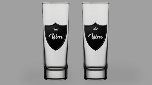 Royalty İsimli İkili Votka Bardağı