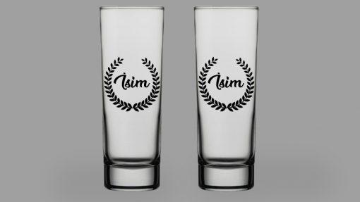 İsimli Yaprak Taç İkili Votka Bardağı