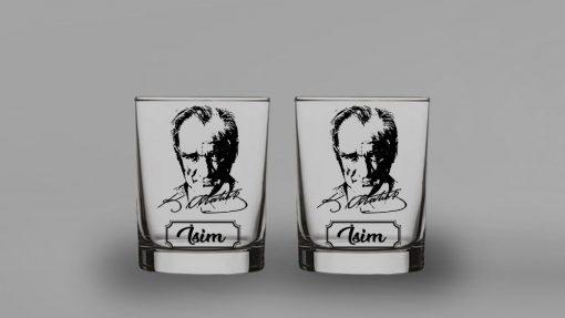 İsimli Atatürk İkili Viski Bardağı