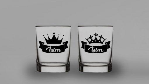 Kral Kraliçe İkili Viski Bardağı