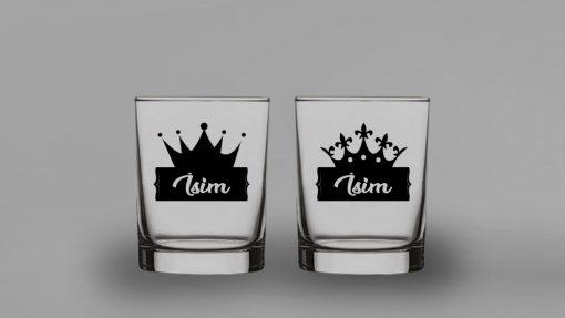 Taçlı İsimli İkili Kalın Viski Bardağı