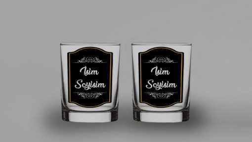 Siyah Kaplama İkili İsimli Viski Bardağı