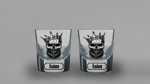 Skull King İkili Kalın Viski Bardağı